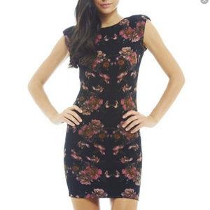 AX Paris black pink floral bodycon scoop dress